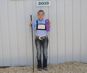 Emily winning Senior Showmanship at the County Fair